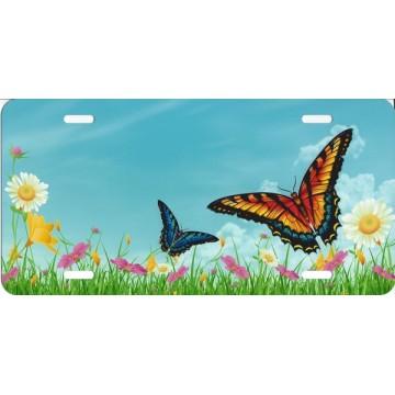 Butterflies In Field License Plate