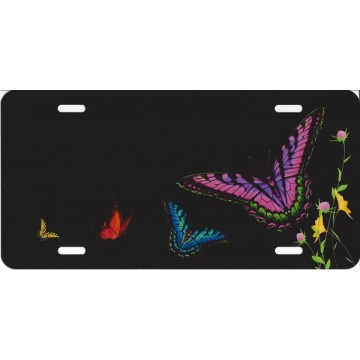 Butterflies On Black License Plate