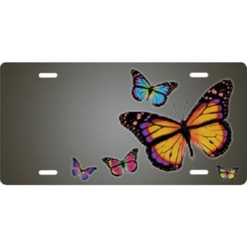 Butterflies On Gray Airbrush License Plate