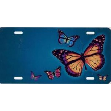 Butterflies On Teal Airbrush License Plate