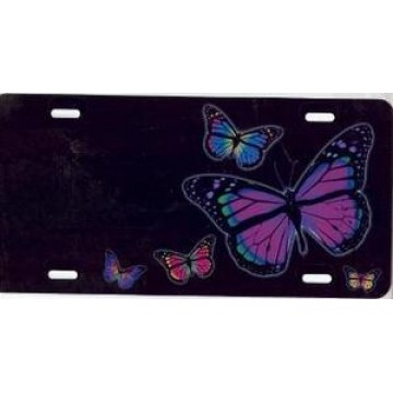 Butterflies On Black Airbrush License Plate