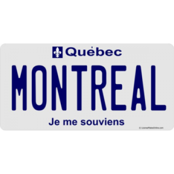 Quebec Montreal Photo License Plate
