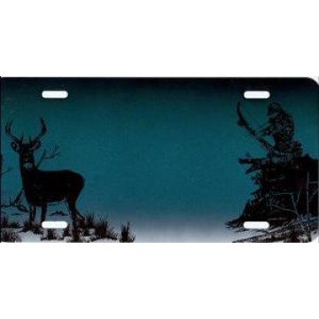 Bowhunter And Deer On Dark Green License Plate