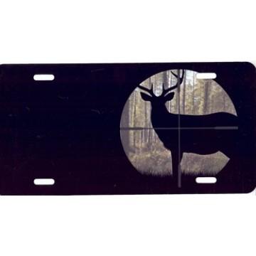 Buck In Crosshairs Airbrush License Plate
