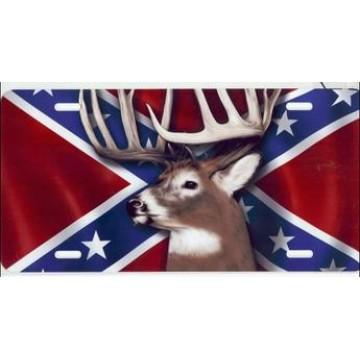 Buck On Rebel Flag Airbrush License Plate