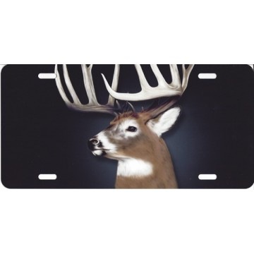 Buck Deer Centered On Black Airbrush License Plate