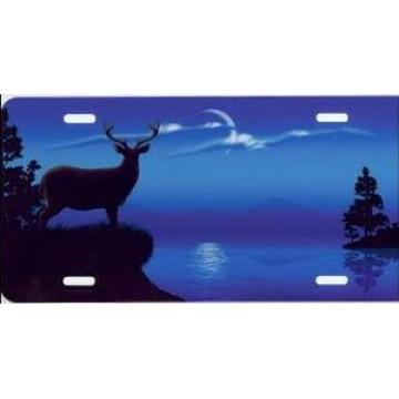Blue Deer Island Airbrush License Plate