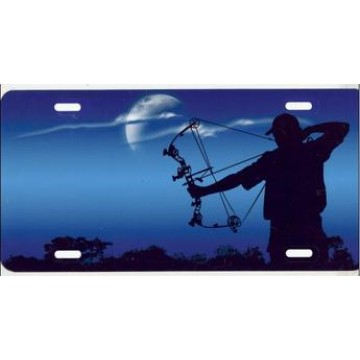Bowhunter On Blue Airbrush License Plate