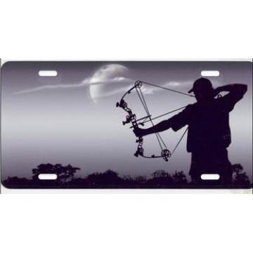 Bowhunter On Gray Airbrush License Plate