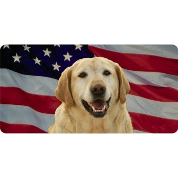 Yellow Lab On American Flag Photo License Plate