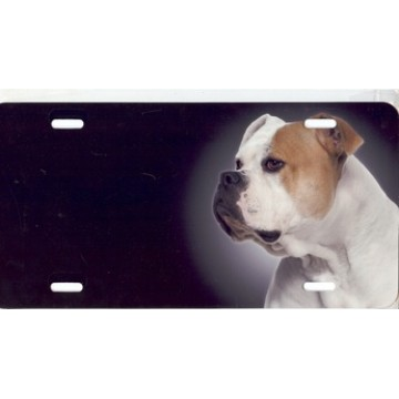 American Bulldog Dog Airbrush License Plate