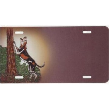 Beagle Dog By Tree License Plate
