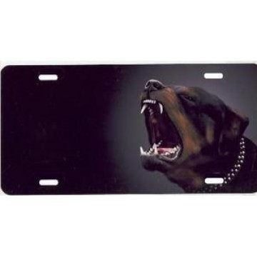 Barking Rottweiler Dog Airbrush License Plate
