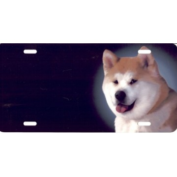 Akita Dog Airbrush License Plate