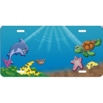 Cartoon Ocean Scene License Plate