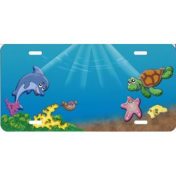 Cartoon Ocean Scene License Plate