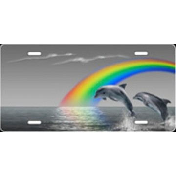 Grey Rainbow Dolphins Airbrush License Plate