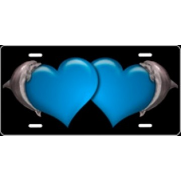 Dolphin Hearts Blue Airbrush License Plate
