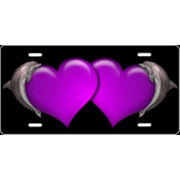 Dolphin Hearts Purple Airbrush License Plate