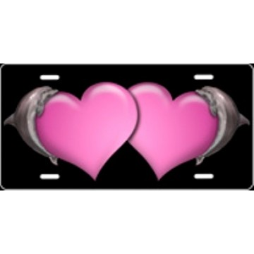 Dolphin Hearts Pink Airbrush License Plate