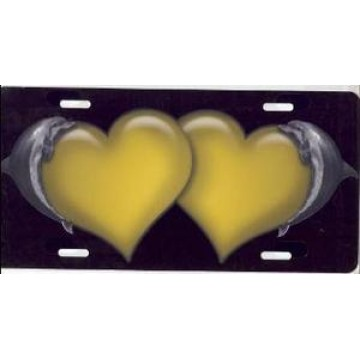 Dolphin Hearts Yellow Airbrush License Plate