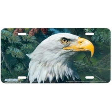 """Fir and Feathers"" Eagle License Plate"