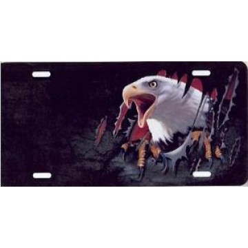 Eagle And Talons Offset Airbrush License Plate