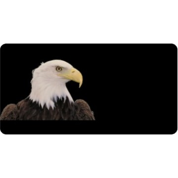 Bald Eagle Offset On Black Photo License Plate