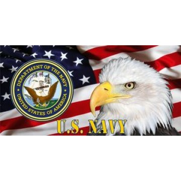 Navy Emblem, Eagle & Flag Photo License Plate
