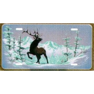 Snowy Mountain Elk License Plate