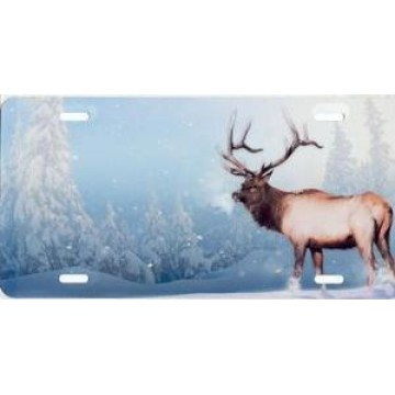 Winter Elk On Blue Airbrush License Plate
