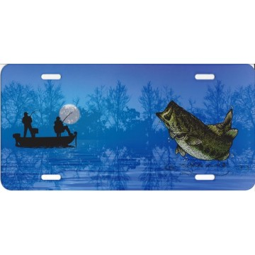 Bass Fisherman On Blue License Plate