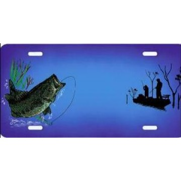 Bass Fishermen Blue License Plate