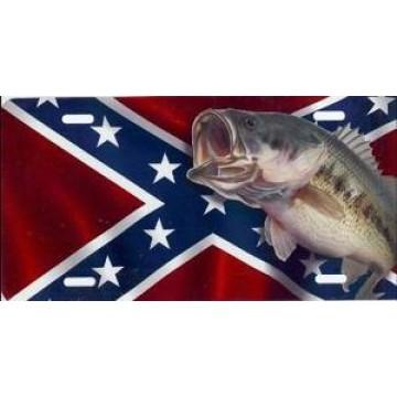 Bass On Rebel Flag Airbrush License Plate