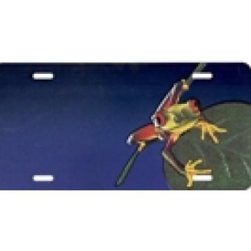 Frog Offset On Blue License Plate