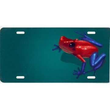 Dart Frog Offset On Green Airbrush License Plate