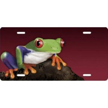 Frog On Burgundy Airbrush License Plate