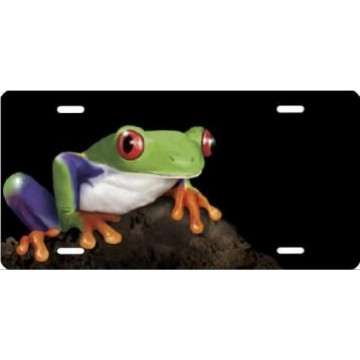Frog On Black Airbrush License Plate