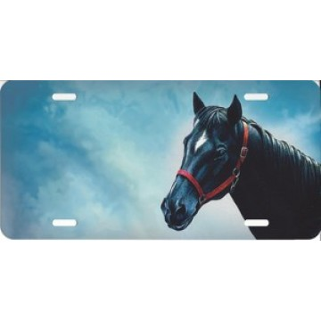 Black Horse Offset License Plate