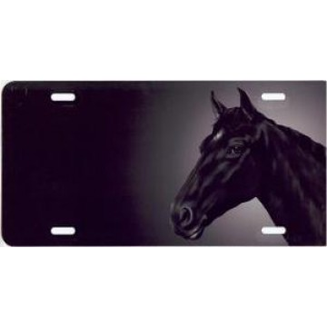 Black Horse Airbrush License Plate