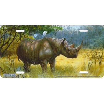 """""""Black Rhino Standing"""" Airbrush License Plate"""