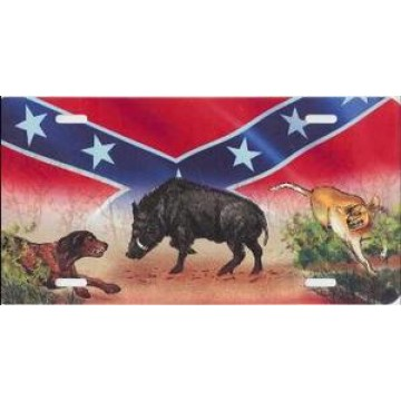 Boar And Dogs On Rebel Flag License Plate