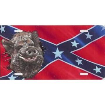 Boar Offset On Rebel Flag License Plate