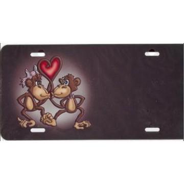 Monkeys Kissing License Plate