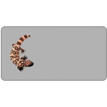 Offset Gila Monster On Gray Photo License Plate
