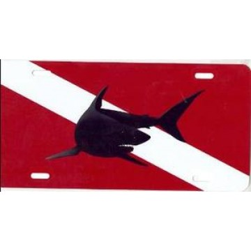 Mako Shark On Dive Flag Airbrush License Plate
