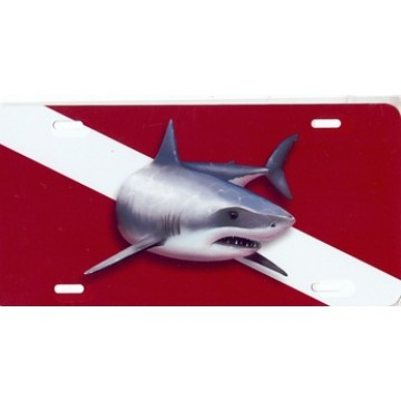 Great White Shark On Dive Flag Airbrush License Plate