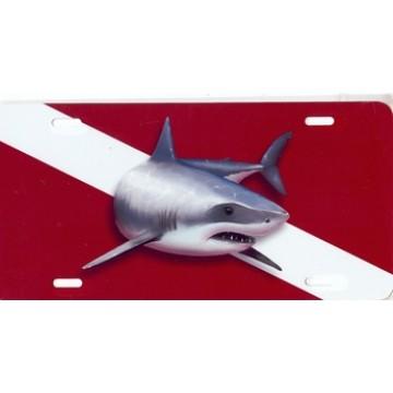 Great White Shark On Dive Flag Airbrush License Plate
