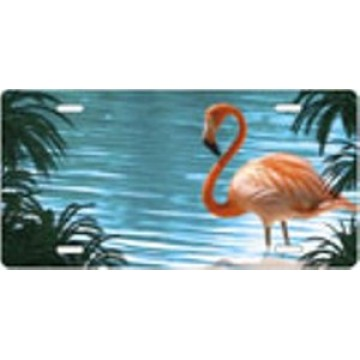 Pink Flamingo Airbrush License Plate