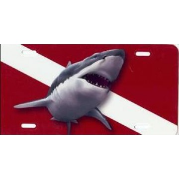 Jaws Dive Flag Airbrush License Plate